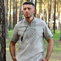 Мужская вышиванка из натурального льна с коротким рукавом, фото 1