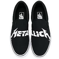 Кеды мужские Vans - Metallica Slip-On (черные) Top replic