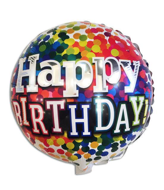 Фольгированный шар  Happy birthday в цветной горошек с гелием