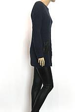 вязана туніка з шкіряними карманами, фото 2