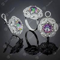 Серебряный набор украшений кольцо и серьги с золотом и Мистическим Альпинитом Роза