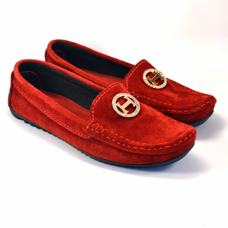 """Мокасины красные замшевые женская обувь больших размеров Ornella BS Red by Rosso Avangard цвет """"Сольферино"""""""