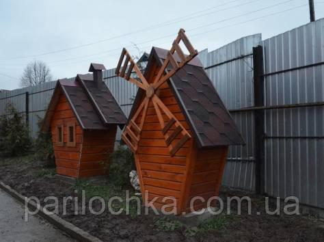 Деревянные мельницы, как элемент декора