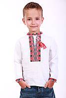 """Льняная вышиванка для мальчика """"Стиль"""" (красно-черная), фото 1"""