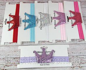Детские тонкие повязочки для волос Корона в блестках 12 шт/уп