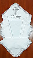 Крыжма махровая хлопковая с уголком для мальчика 100 на 100 см, с белым льняным кружевом, фото 1