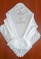 Крыжма летняя хлопковая для девочки 100 на 100 см, с белым натуральным кружевом