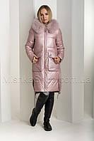"""Восхитительный пуховик из мягкой итальянской ткани ZL.YA (ZLLY) 18661 с мехом песца цвета """"розовый кварц"""", фото 1"""