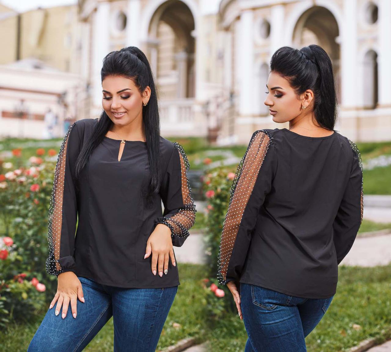 """Женская стильная нарядная блузка 4198-1 """"Софт Рукава Сетка Горох"""" в расцветках"""