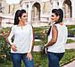 """Женская стильная нарядная блузка 4198-1 """"Софт Рукава Сетка Горох"""" в расцветках, фото 2"""