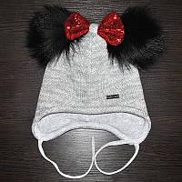 Зимняя шапка для девочки с двумя меховыми помпонами., фото 1