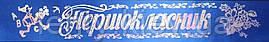 Першокласник - стрічка атлас, золота фольга (укр.мова) Синий, Серебристый