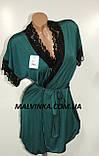 Комплект халат и рубашка Glamour  арт 001 S M L XL 2XL 3XL 4XLзеленый., фото 2