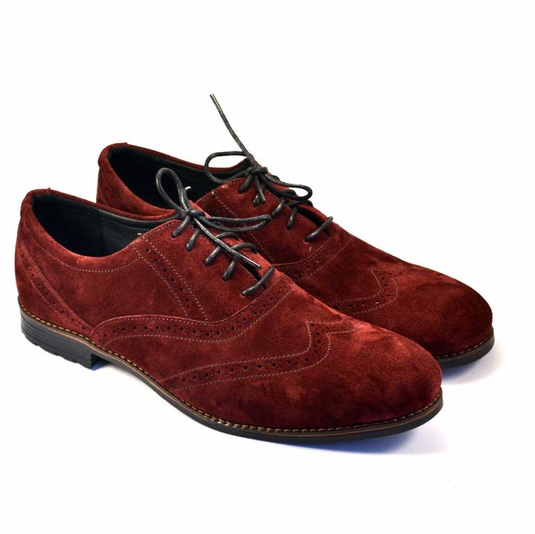 Бордовые броги большого размера туфли мужские замшевые Rosso Avangard BS Felicite Marsala Vel цвет марсала