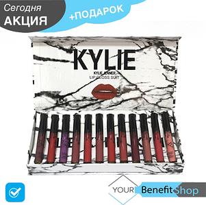 Набор помад Kylie Velvet White мраморная белая упаковка | 12 помад | помады Кайли | матовая помада