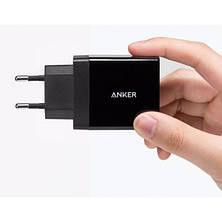 Cетевая зарядка Anker PowerPort2 24W/4.8A + Micro USB Cable V3 Black, фото 3