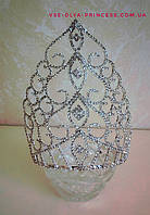 Высокая корона для выступления,  диадема, тиара, высота 18 см., фото 1