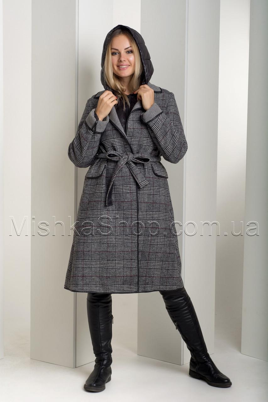 Оригинальный тёплый зимний пуховик-двойка, трансформер - пуховик+пальто в шотландскую клетку 18-8190