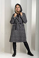 Оригинальный тёплый зимний пуховик-двойка, трансформер - пуховик+пальто в шотландскую клетку 18-8190, фото 1