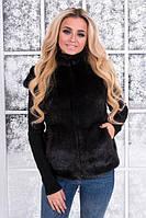 Женская меховая жилетка из искусственного меха норки с карманами tez391415, фото 1