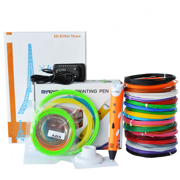 3D-ручка MyRiwell 1 RP-100A Orange с Набором ABS Пластика 240 метров (16 цветов) и Аксессуары