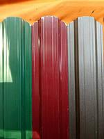 Забор штакетник трапециевидный металлический зелёный двухсторонний глянец - Матт.