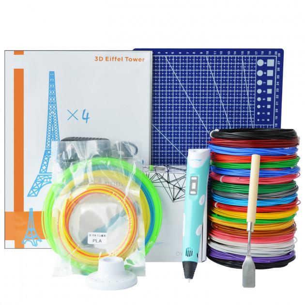 3D-ручка Dewang X2 Blue с Набором ABS Пластика 320 метров (16 цветов) и Аксессуары