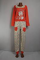 """Пижама женская трикотажная (интерлок), костюм домашний с брюками оранжевая """"Кошка"""", фото 1"""