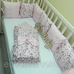 """Комплект в кроватку """"Розовый зайка"""", (с простынкой и конвертом)"""