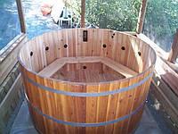 Круглая деревянная купель для бани