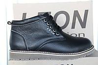Ботинки мужские зимние из натуральной кожи и меха LEON черная кожа