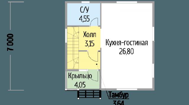 Дом из профилированного бруса 7х7 м план 1 этаж