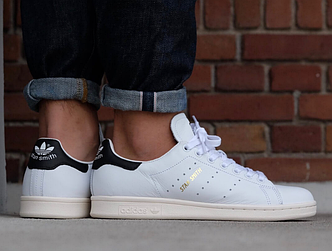 Кроссовки женские Adidas Stan Smith White/Black, адидас стен смитт, реплика