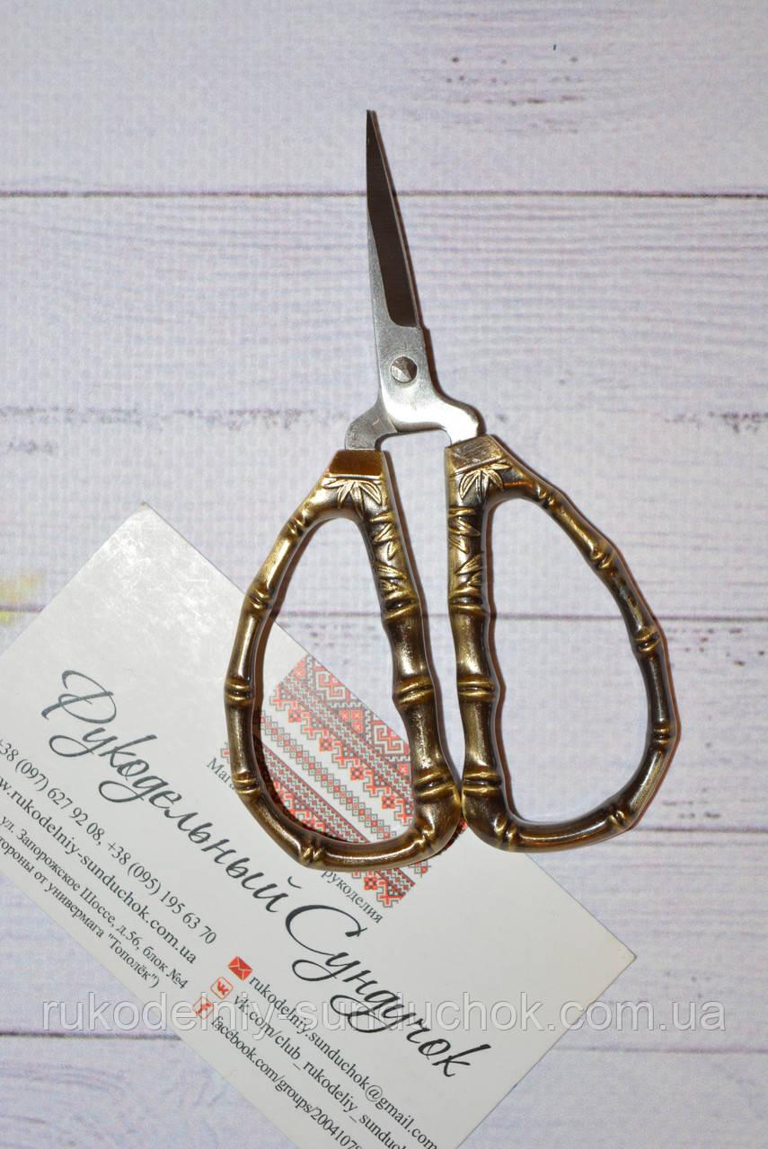 """Ножницы для рукоделия """"Бамбук"""" 10 см (цвет: винтажное золото)"""