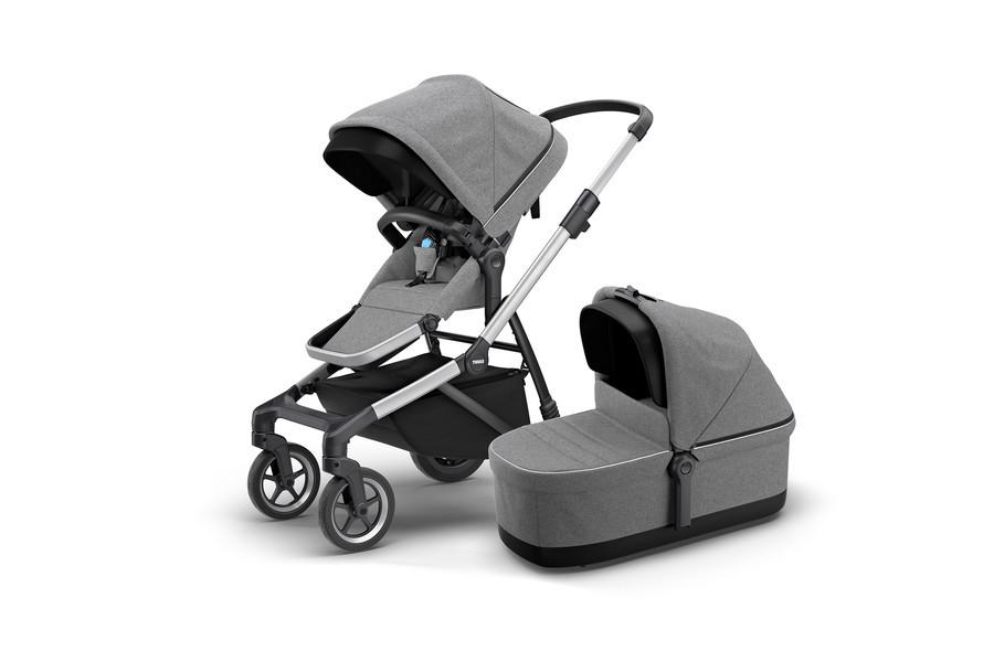 THULE - Детская коляска 2 в 1 Sleek + Bassinet Grey Melange
