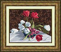"""Набор для вышивания крестом ТМ Золотое Руно """"Белые тюльпаны"""" М-005"""