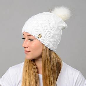 """Вязаная женская шапка """"Praga"""" с меховым помпоном, фото 2"""