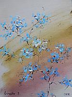 """Картина """"Голубі квіти"""", 30х40см, Гузенко Павло, холст, масло"""