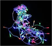 Новогодняя гирлянда 100 Led лампочек (прозрачный провод) мультицвет
