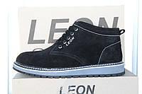 Мужские ботинки из натуральной кожи и меха LEON 02 черный велюр