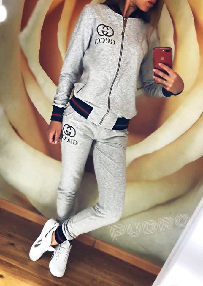 Молодежный спортивный костюм, реплика Gucci, кофта бомбер на молнии и штаны с трехцветными манжетами