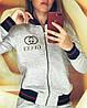 Молодежный спортивный костюм, реплика Gucci, кофта бомбер на молнии и штаны с трехцветными манжетами, фото 2