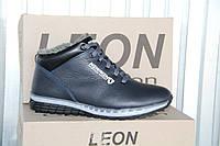 Мужские ботинки из натуральной кожи и меха LEON NEW MEN синяя кожа