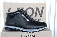 Мужские ботинки из натуральной кожи Leon NEW MEN черная кожа