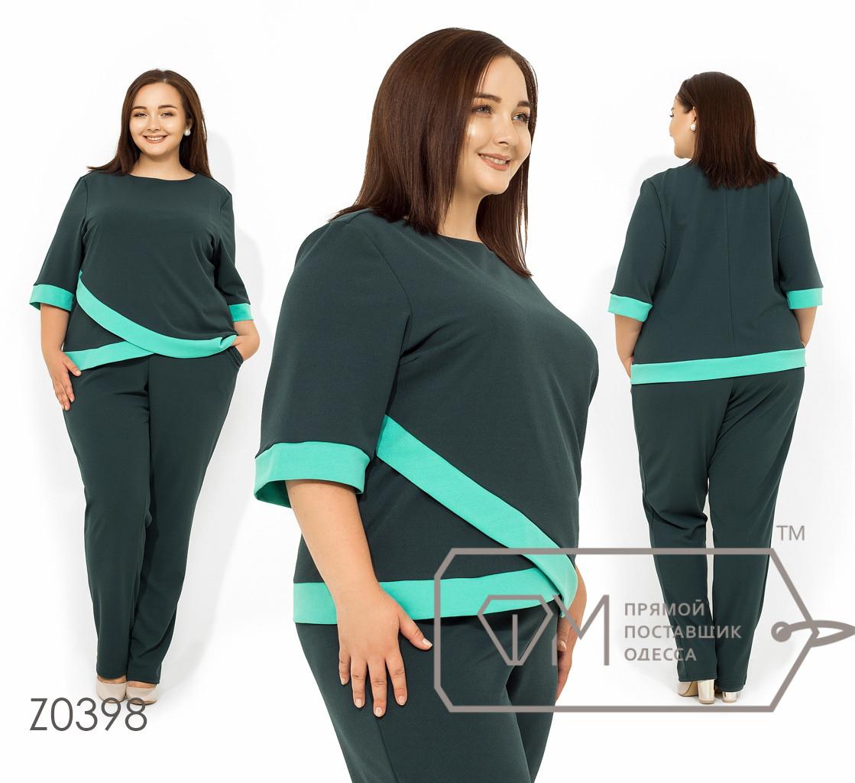 Брючный костюм из креп-дайвинга блуза с контрастными асимметричными вставками рукавами 3/4 р. 56-62