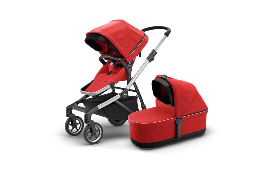 THULE - Детская коляска 2 в 1 Sleek + Bassinet Energy Red