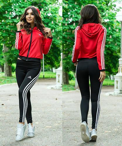 Спортивный женский костюм  красная кофта с капюшоном и черные лосины,  реплика Adidas, полубатал 993a3ec3eb7