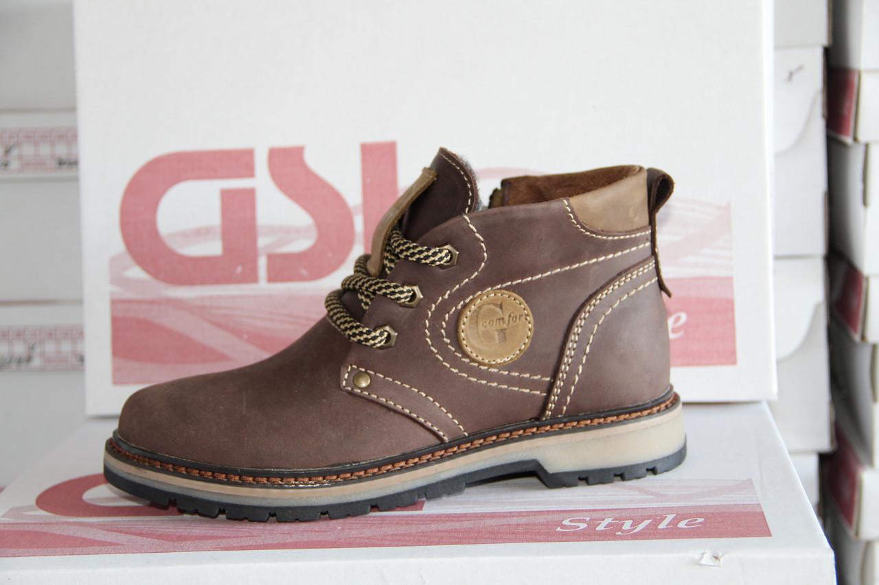 Зимняя детская обувь из натуральной кожи и меха GSL 01 оливка