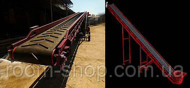 Желобчатые ленточные конвейера (транспортеры) шириной 400 мм. длина 10 м.