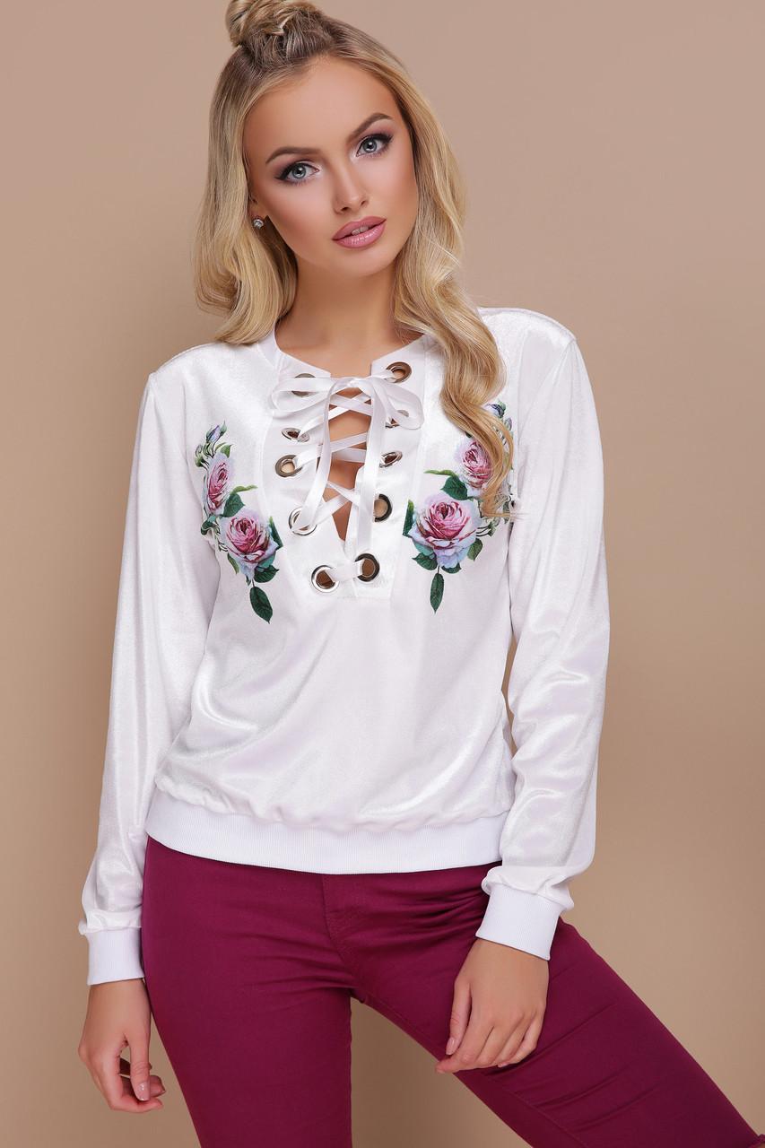 Кофта женская белая с цветами